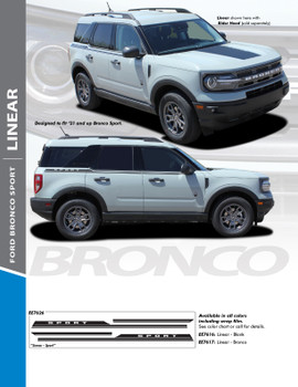LINEAR : 2021+ Ford Bronco Sport Body Stripes Decals Vinyl Graphics Stripe Kit (PDS-7626)