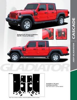 CASCADE : 2020 Jeep Gladiator Side Body Decal Vinyl Graphics Stripe Kit
