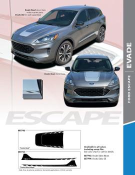 EVADE: 2020-2021 Ford Escape Center Hood Vinyl Graphics or Side Door Decal Stripe Kit