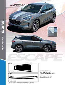 SABRE: 2020-2021 Ford Escape Center Hood Vinyl Graphics or Side Door Decal Stripe Kit