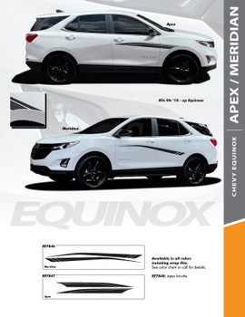 MERIDIAN : 2018-2022 Chevy Equinox Side Body Door Accent Vinyl Graphic Factory OEM Style Decal Stripe Kit (PDS-7846)