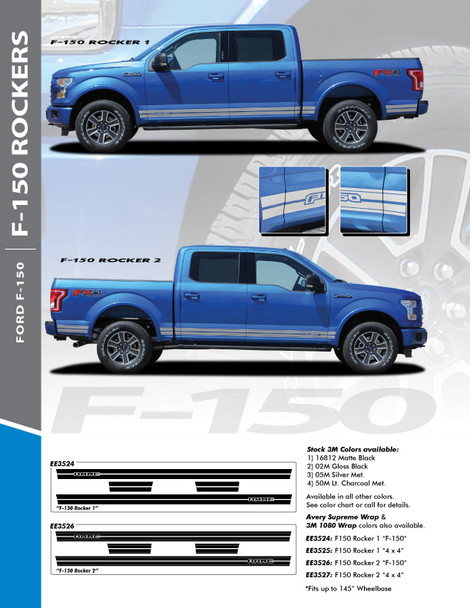 F-150 ROCKER TWO : 2015-2020 Ford F-150 Lower Door Rocker Panel Stripes Vinyl Graphic Decals Kit