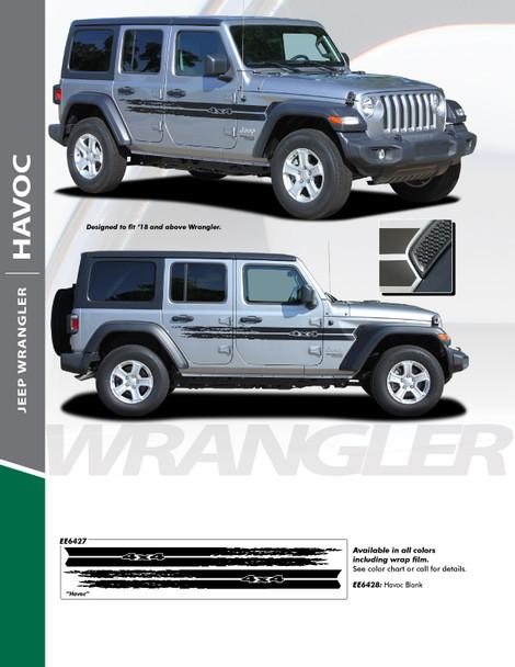 HAVOC : 2018-2020 Jeep Wrangler Side Door Vinyl Graphics Decal Stripe Kit (PDS-6427)