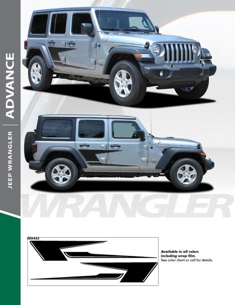 ADVANCE : 2018-2020 Jeep Wrangler Side Vinyl Graphics Decal Stripe Kit (PDS-6425)