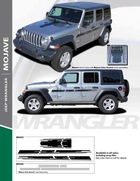 MOJAVE : 2018-2020 Jeep Wrangler Hood and Side Vinyl Graphics Decal Stripe Kit (PDS-6423)