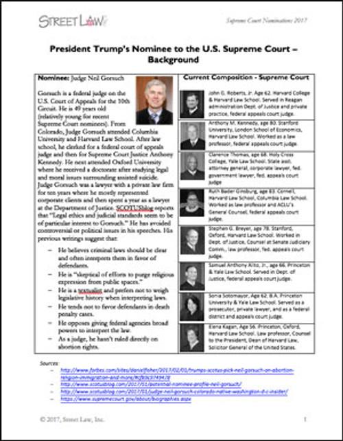 2017 Supreme Court Nomination: Advising Senators Activity