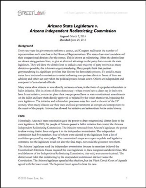 Arizona Legislature v. Arizona Independent Redistricting Commission (2015)