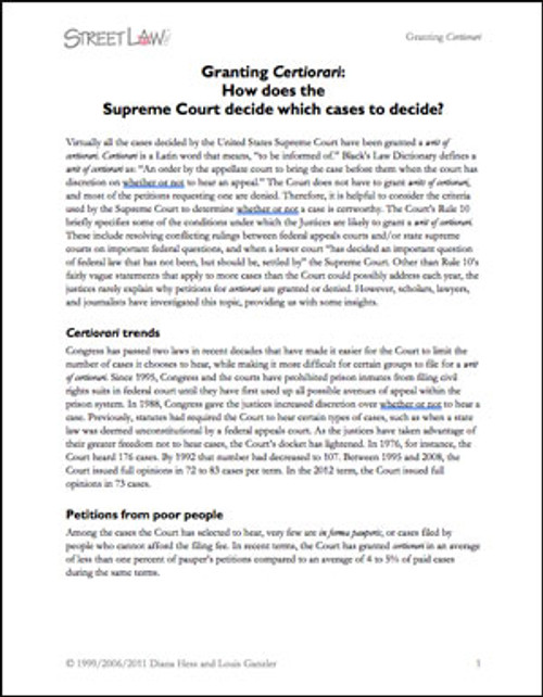 Certiorari: Background, Activity, and Answers