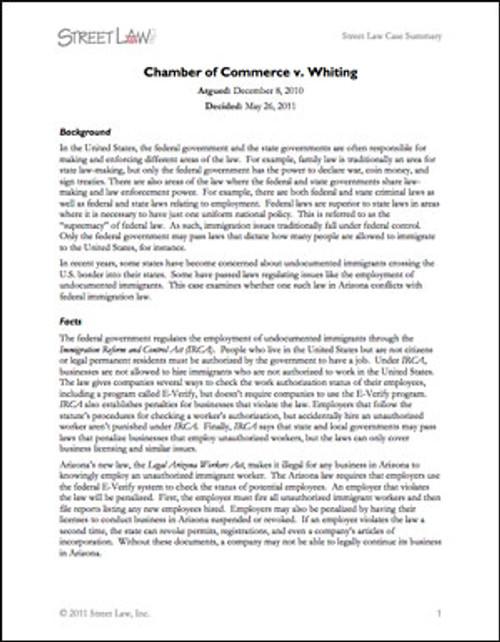 Chamber of Commerce v. Whiting (2011)
