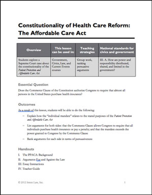 Constitutionality of Health Care Reform: The Affordable Care Act