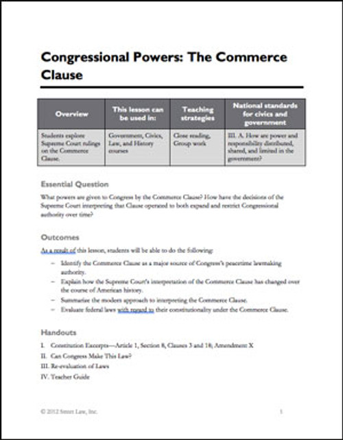 Congressional Powers: The Commerce Clause
