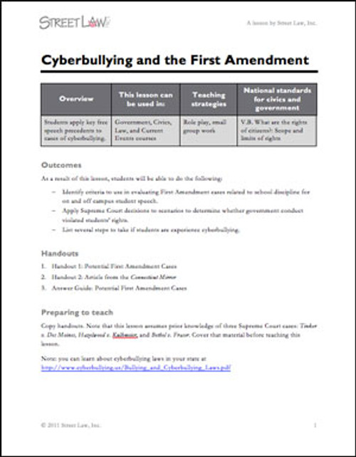 Cyberbullying and the First Amendment