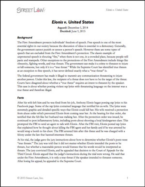 Elonis v. United States (2015)