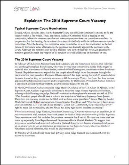 Explainer: The 2016 Supreme Court Vacancy