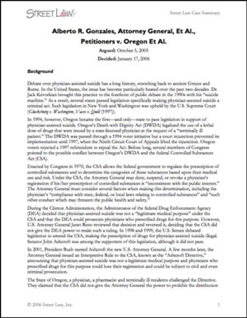 Gonzalez v. Oregon (2006)
