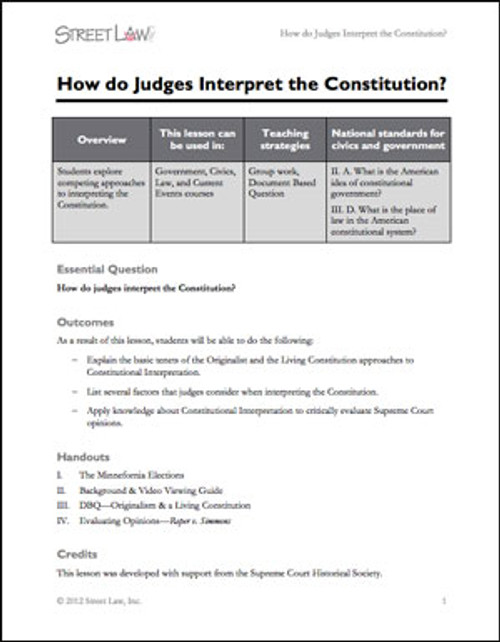 How Do Judges Interpret the Constitution?