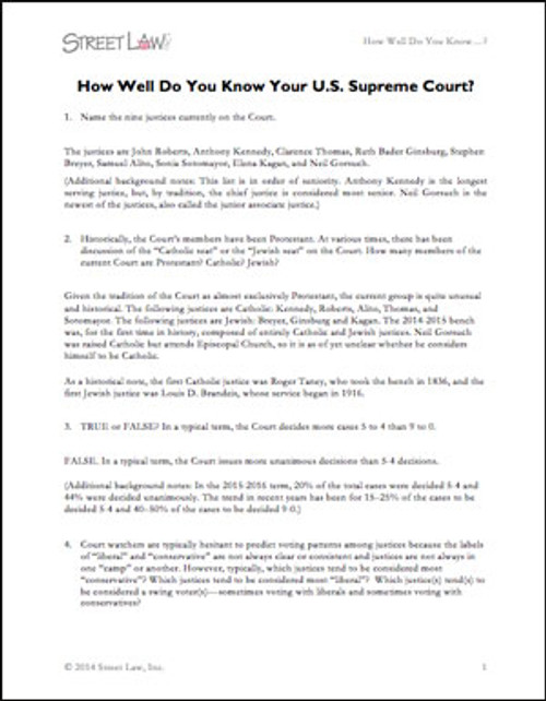 How Well Do You Know Your U.S. Supreme Court? (Questions And Answers)