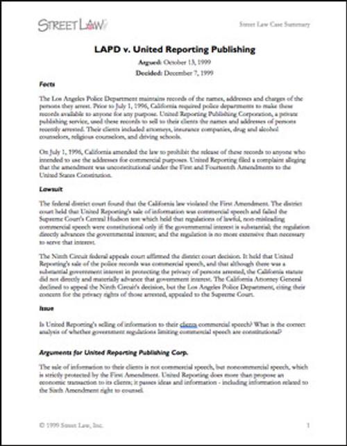 LAPD v. United Reporting Publishing (1999)