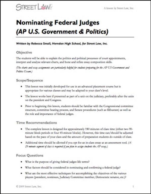Nominating Federal Judges (AP Government version)