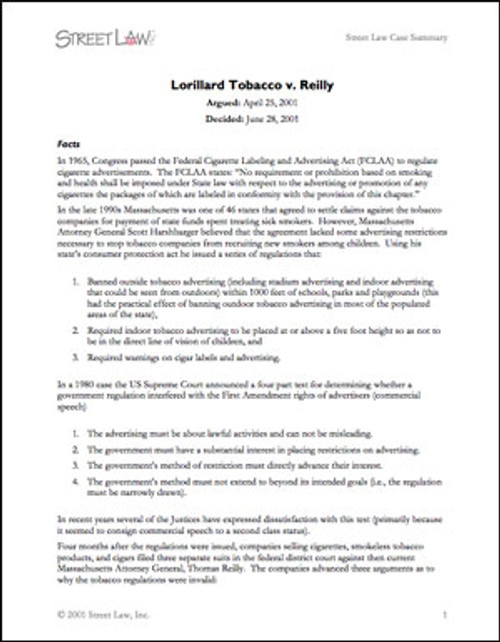 Lorillard Tobacco v. Reilly (2001)