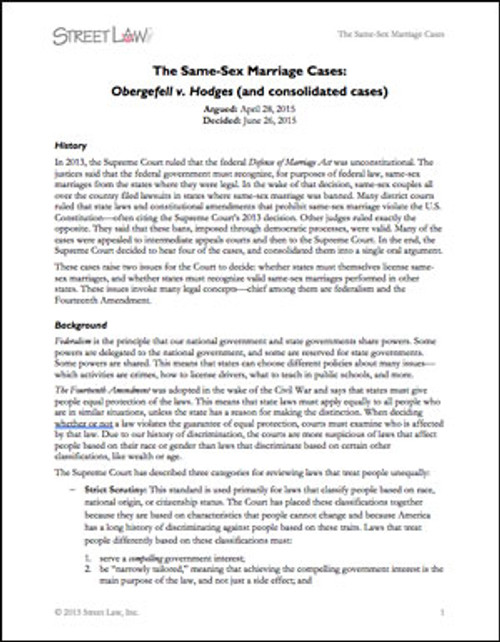 Obergefell v. Hodges and Consolidated Cases (2015)