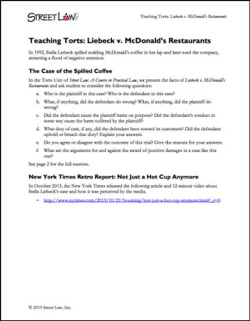 Teaching Torts Liebeck V Mcdonalds Restaurants Street Law Inc