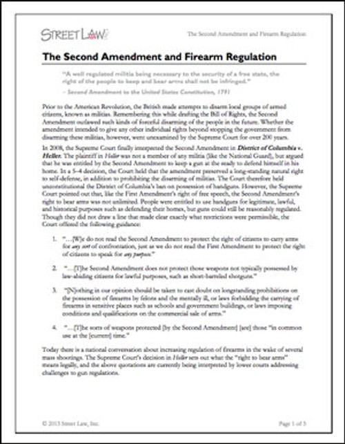The Second Amendment and Firearm Regulation