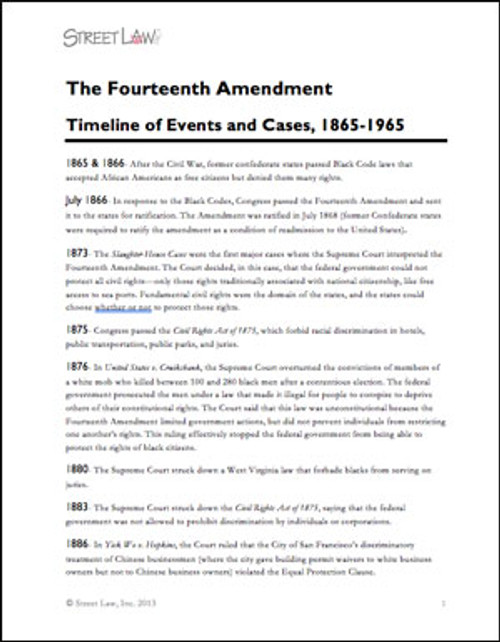 The 14th Amendment: History and Primary Sources