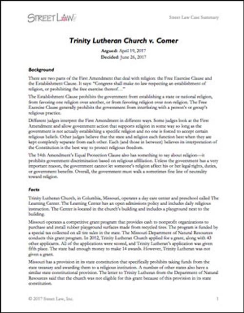 Trinity Lutheran Church v. Comer (2017)