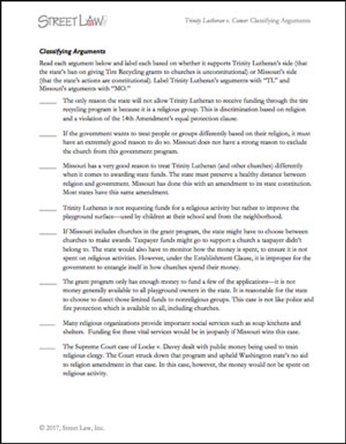 Trinity Lutheran v. Comer: Classifying Arguments