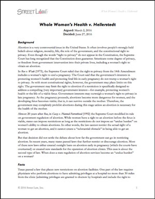 Whole Woman's Health v. Hellerstedt (2016)