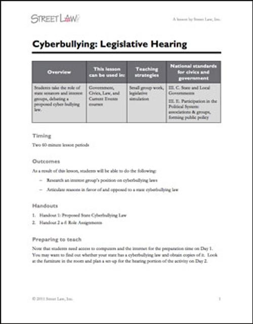 Cyberbullying Legislative Hearing