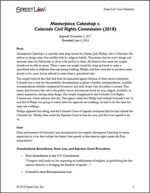 Masterpiece Cakeshop v.  Colorado Civil Rights Commission (2018)
