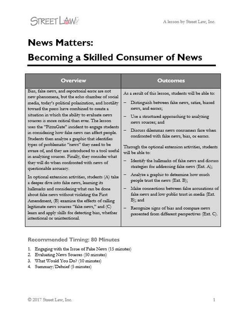 News Matters: Becoming a Skilled Consumer of News