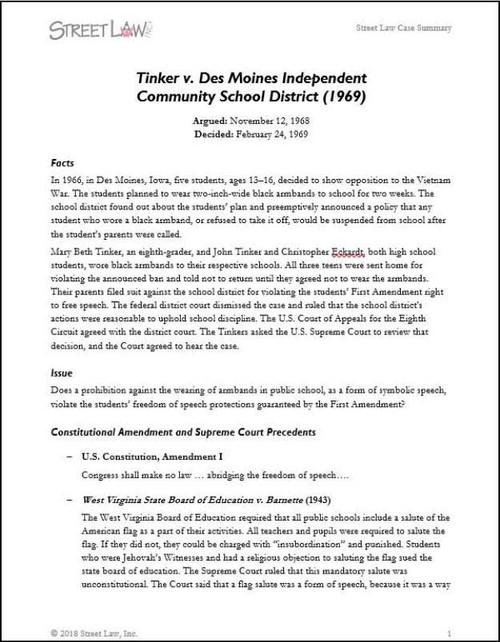 Tinker v  Des Moines (1969) (external link) - Street Law, Inc
