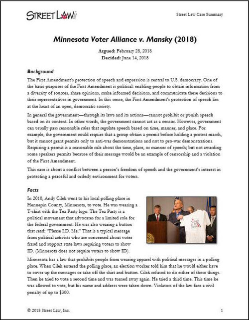 Minnesota Voters Alliance v. Mansky (2018)