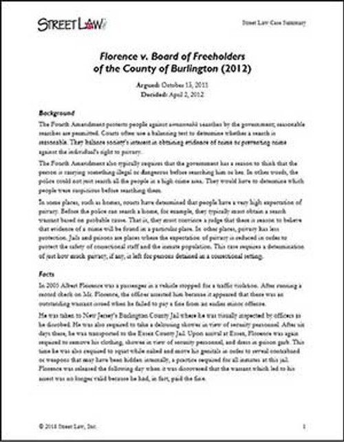 Florence v. Board of Freeholders  of the County of Burlington (2012)