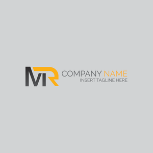 A letter 'M' and letter 'R' on a grey color background