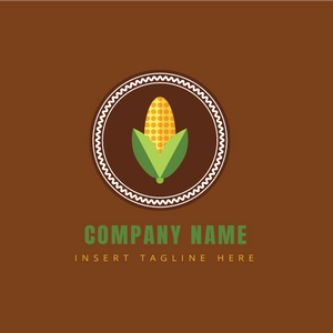 A corn in a badge on a brown color background