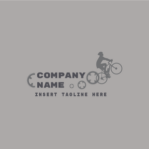 A human driving a bicycle and gears on a grey color background