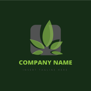 Leaves in a rounded corner square on a green color background