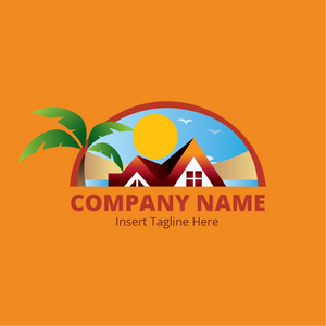 A house is locate by the beach on a orange color background