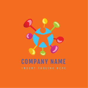 A human icon in a circle with colorful stick on a orange color background