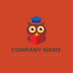 An owl wear a graduate hat reading a book on a red color background