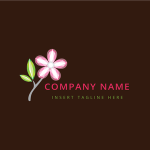 A pink flower with leaves on a brown color background