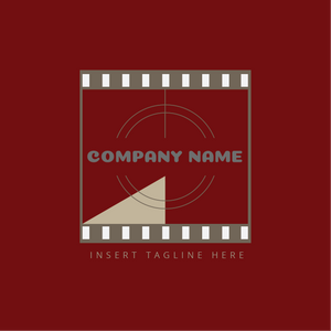 A classic film tape on a red color background