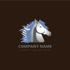 A horse with flying long hair on a brown color background