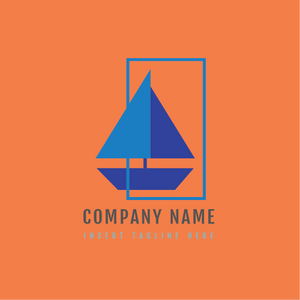A sail coming out from a rectangle shape on a orange color background