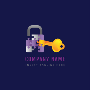 A back lock and key on a blue color background