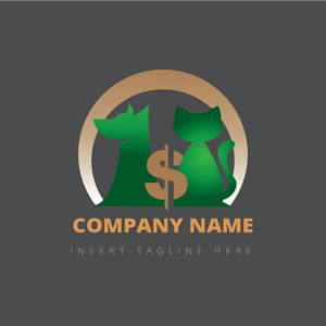 Dog, cat and money icon on a grey color background